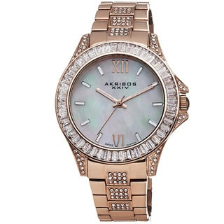 Akribos XXIV Women's Swiss Quartz Crystal Stainless Steel Rose-Tone Bracelet Watch with FREE GIFT