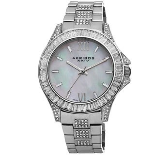 Akribos XXIV Women's Swiss Quartz Crystal Stainless Steel Silver-Tone Bracelet Watch
