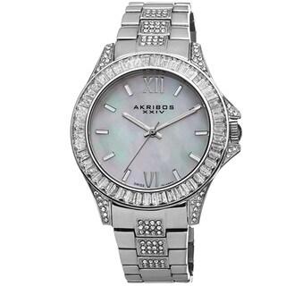 Akribos XXIV Women's Swiss Quartz Crystal Stainless Steel Silver-Tone Bracelet Watch
