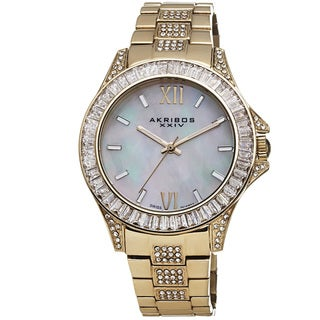 Akribos XXIV Women's Swiss Quartz Crystal Stainless Steel Gold-Tone Bracelet Watch