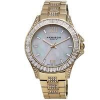 Akribos XXIV Women's Swiss Quartz Crystal Stainless Steel Gold-Tone Bracelet Watch