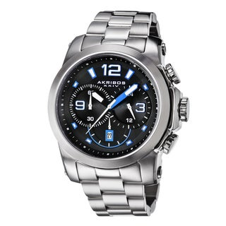 Akribos XXIV Men's Multifunction Chronograph Stainless Steel Blue Bracelet Watch