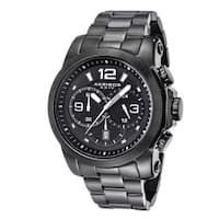 Akribos XXIV Men's Multifunction Chronograph Stainless Steel Black Bracelet Watch - Black/silver