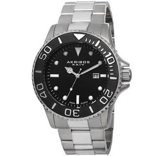Akribos XXIV Men's Swiss Quartz Sunray Dial Stainless Steel Silver-Tone Bracelet Watch