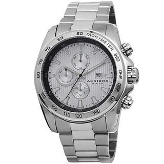 Akribos XXIV Men's Quartz Stainless Steel Tachymeter Silver-Tone Bracelet Watch