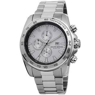 Akribos XXIV Men's Quartz Stainless Steel Tachymeter Silver-Tone Bracelet Watch with FREE GIFT|https://ak1.ostkcdn.com/images/products/8875833/Akribos-XXIV-Mens-Quartz-Stainless-Steel-Tachymeter-Bracelet-Watch-P16100260.jpg?impolicy=medium