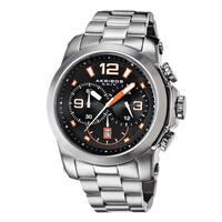 Akribos XXIV Men's Multifunction Chronograph Stainless Steel Orange Bracelet Watch