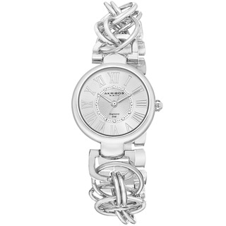 Akribos XXIV Women's Diamond Swiss Quartz Chain Link Silver-Tone Bracelet Watch