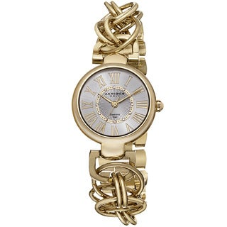 Akribos XXIV Women's Diamond Swiss Quartz Chain Link Gold-Tone Bracelet Watch