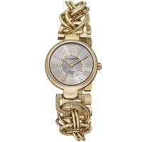 Akribos XXIV Women's Diamond Swiss Quartz Chain Link Gold-Tone Bracelet Watch