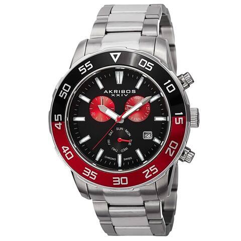 Akribos XXIV Men's Chronograph Stainless Steel Red Bracelet Watch