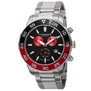 Akribos XXIV Men's Chronograph Stainless Steel Red Bracelet Watch