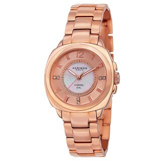 Akribos XXIV Women's Swiss Quartz Stainless Steel Rose-Tone Bracelet Watch with FREE Bangle