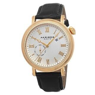 Akribos XXIV Men's Swiss Quartz Day/Date Leather Gold-Tone Strap Watch