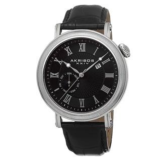 Akribos XXIV Men's Swiss Quartz Day/Date Leather Black Strap Watch