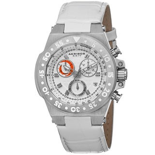 Akribos XXIV Women's Swiss Chronograph Sports Leather Silver-Tone Strap Watch with FREE Bangle