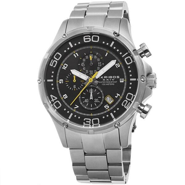 Akribos XXIV Men's Chronograph Stainless Steel Silver-Tone Bracelet Watch