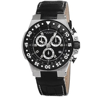Akribos XXIV Women's Swiss Chronograph Sports Leather Black Strap Watch with GIFT BOX