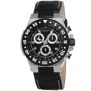 Akribos XXIV Women's Swiss Chronograph Sports Leather Black Strap Watch