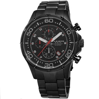 Akribos XXIV Men's Chronograph Stainless Steel Black Bracelet Watch