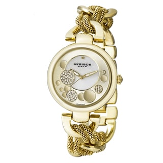 Akribos XXIV Women's Crystal Mesh Twist Chain Link Gold-Tone Bracelet Watch