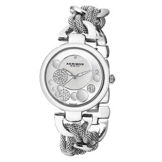 Akribos XXIV Women's Crystal Mesh Twist Chain Link Silver-Tone Bracelet Watch