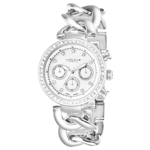 Akribos XXIV Women's Swiss Quartz Multifunction Twist Chain Silver-Tone Watch