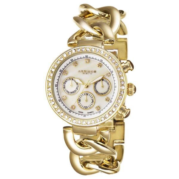Akribos XXIV Women's Swiss Quartz Multifunction Twist Chain Gold-Tone Watch