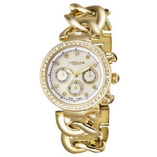 Akribos XXIV Women's Swiss Quartz Multifunction Twist Chain Gold-Tone Watch