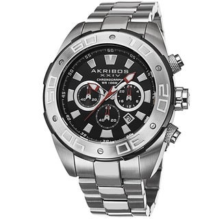 Akribos XXIV Men's Sturdy Chronograph Stainless Steel Silver-Tone Bracelet Watch