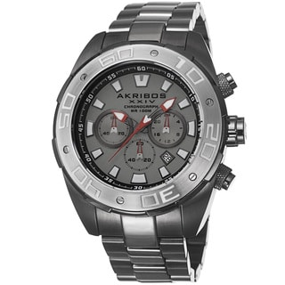 Akribos XXIV Men's Sturdy Chronograph Stainless Steel Gun Bracelet Watch