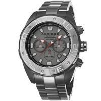 Akribos XXIV Men's Sturdy Chronograph Stainless Steel Gun Bracelet Watch
