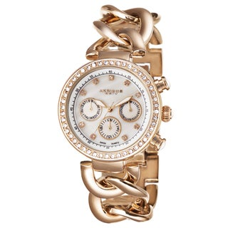 Akribos XXIV Women's Swiss Quartz Multifunction Twist Chain Rose-Tone Watch with FREE GIFT