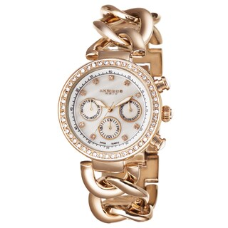 Akribos XXIV Women's Swiss Quartz Multifunction Twist Chain Rose-Tone Watch