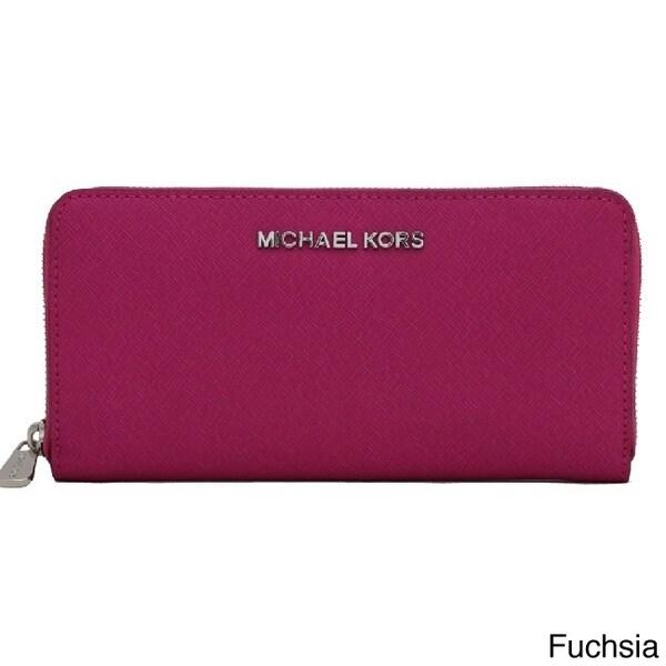 f26e962446df MICHAEL Michael Kors Jet Set Saffiano Fuchsia Zip Around Continental Wallet