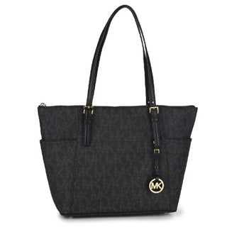 Michael Kors Jet Set East/West Black Signature Tote Bag