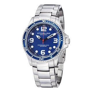 Stuhrling Original Men's Grand Regatta Swiss Quartz Stainless Steeel Divers Bracelet Watch