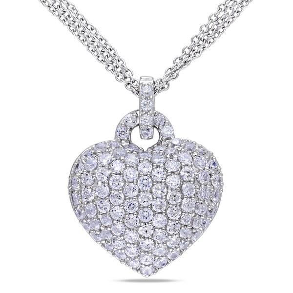 Miadora Sterling Silver Created White Sapphire Heart Necklace with Bonus Handbag