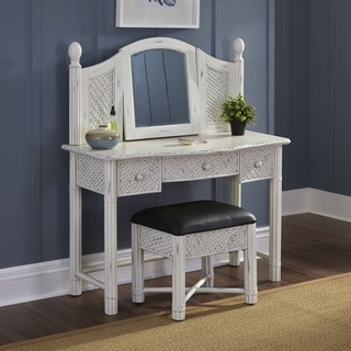 Home Styles Marco Island Vanity and Bench White Finish