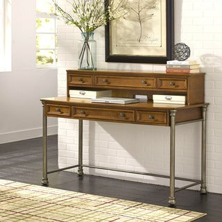 Home Styles The Orleans Vintage Caramel Finish Metal/Veneer/Wood Executive Desk and Hutch