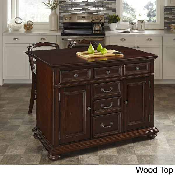 Colonial Classic Kitchen Island and Two Stools by Home Styles