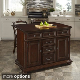 Home Styles Colonial Classic Kitchen Island and Two Stools