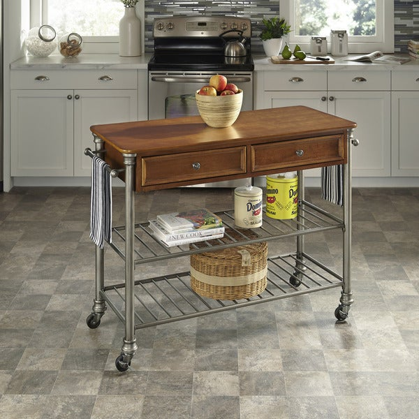 Home Styles The Orleans Caramel Wood Kitchen Cart
