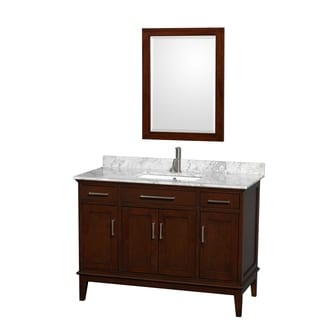 Wyndham Collection 'Hatton' Dark Chestnut 48-inch Square Single-sink Vanity with Accessory Options