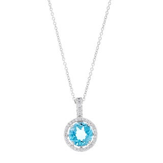 Kabella Sterling Silver Blue Topaz Round-cut Halo Solitaire Necklace