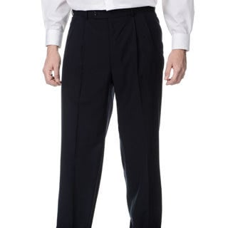 Palm Beach Men's Big & Tall Navy Self-adjusting Expander Waist Flat Front Pant (Option: 33r)