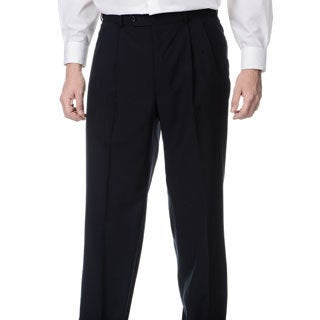 Palm Beach Men's Big & Tall Navy Self-adjusting Expander Waist Flat Front Pant