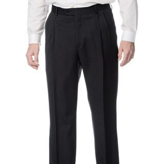 Palm Beach Men's Stretchable Waistband Pleated Front Charcoal Pant