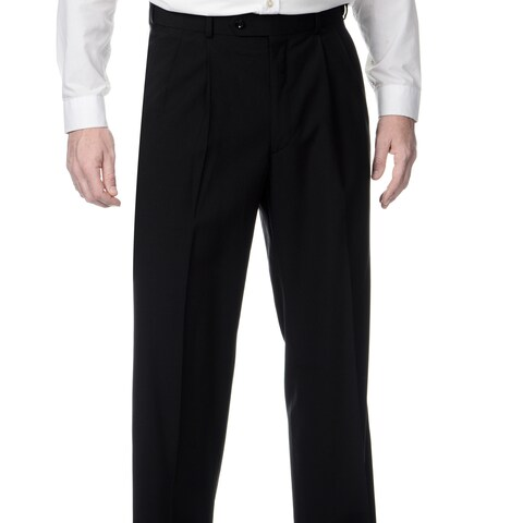 Palm Beach Men's Black Self-adjusting Waist Pleated Front Pants