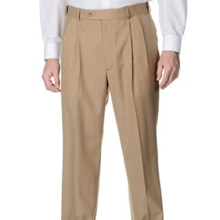 Palm Beach Men's Camel Self-adjusting Expander Waist Pleated Pant